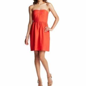 LOFT Red Strapless Sweetheart Neck Short Dress
